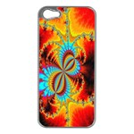 Crazy Mandelbrot Fractal Red Yellow Turquoise Apple iPhone 5 Case (Silver) Front