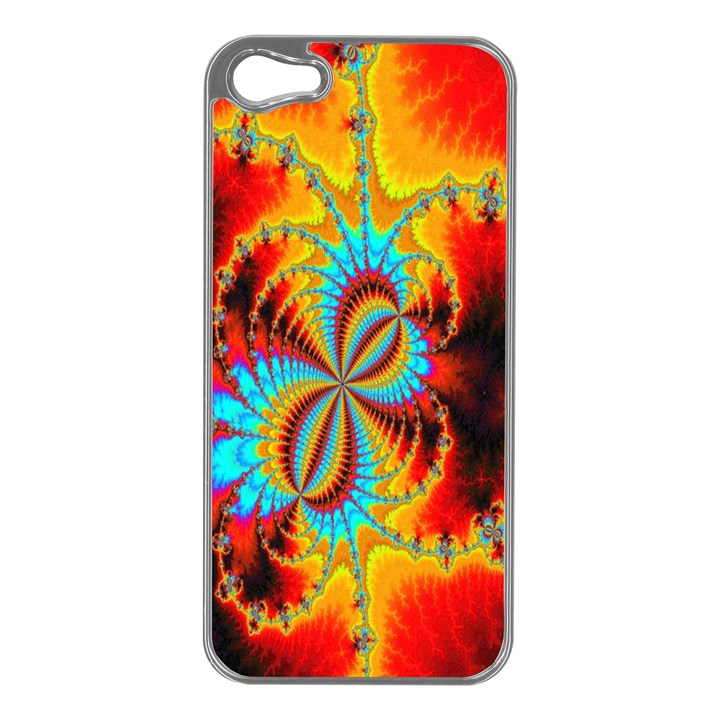 Crazy Mandelbrot Fractal Red Yellow Turquoise Apple iPhone 5 Case (Silver)