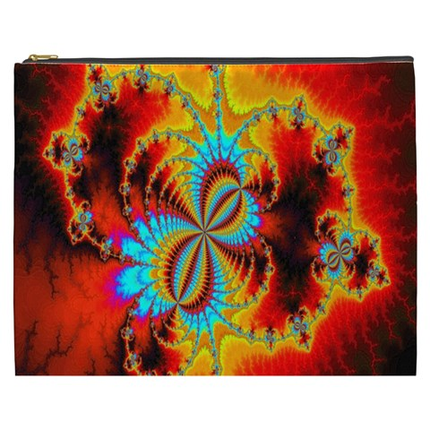Crazy Mandelbrot Fractal Red Yellow Turquoise Cosmetic Bag (XXXL)