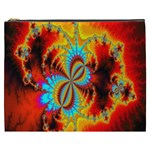 Crazy Mandelbrot Fractal Red Yellow Turquoise Cosmetic Bag (XXXL)  Front
