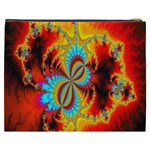 Crazy Mandelbrot Fractal Red Yellow Turquoise Cosmetic Bag (XXXL)  Back