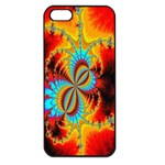 Crazy Mandelbrot Fractal Red Yellow Turquoise Apple iPhone 5 Seamless Case (Black) Front