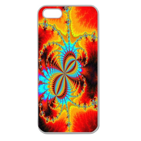 Crazy Mandelbrot Fractal Red Yellow Turquoise Apple Seamless iPhone 5 Case (Clear)