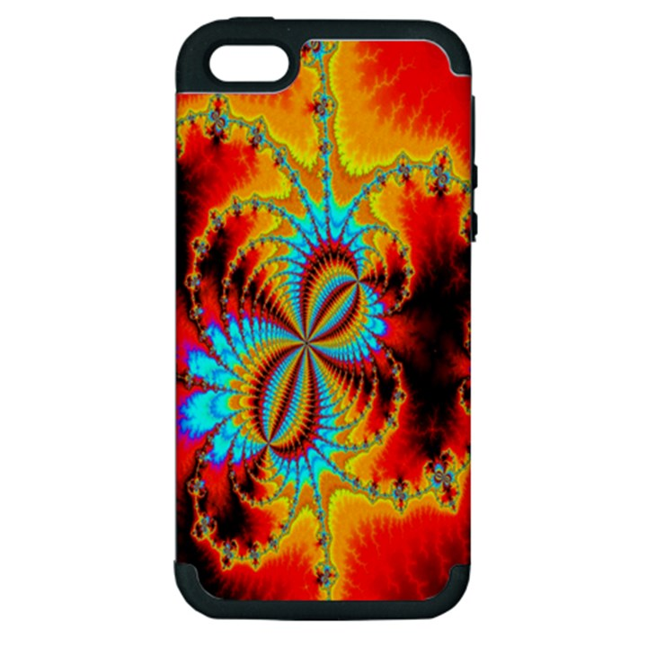 Crazy Mandelbrot Fractal Red Yellow Turquoise Apple iPhone 5 Hardshell Case (PC+Silicone)