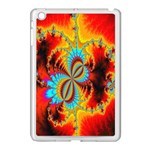 Crazy Mandelbrot Fractal Red Yellow Turquoise Apple iPad Mini Case (White) Front