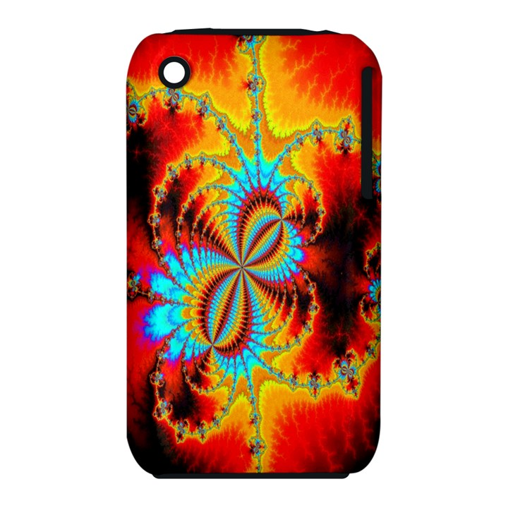 Crazy Mandelbrot Fractal Red Yellow Turquoise Apple iPhone 3G/3GS Hardshell Case (PC+Silicone)