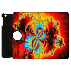Crazy Mandelbrot Fractal Red Yellow Turquoise Apple iPad Mini Flip 360 Case
