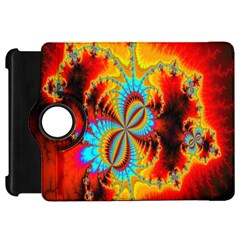 Crazy Mandelbrot Fractal Red Yellow Turquoise Kindle Fire Hd Flip 360 Case