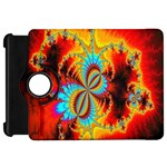 Crazy Mandelbrot Fractal Red Yellow Turquoise Kindle Fire HD Flip 360 Case Front