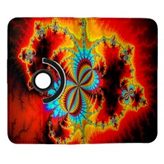 Crazy Mandelbrot Fractal Red Yellow Turquoise Samsung Galaxy Note II Flip 360 Case