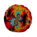 Crazy Mandelbrot Fractal Red Yellow Turquoise Standard 15  Premium Round Cushions Front