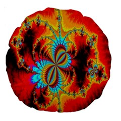 Crazy Mandelbrot Fractal Red Yellow Turquoise Large 18  Premium Round Cushions