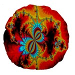 Crazy Mandelbrot Fractal Red Yellow Turquoise Large 18  Premium Round Cushions Back