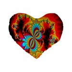 Crazy Mandelbrot Fractal Red Yellow Turquoise Standard 16  Premium Heart Shape Cushions Front