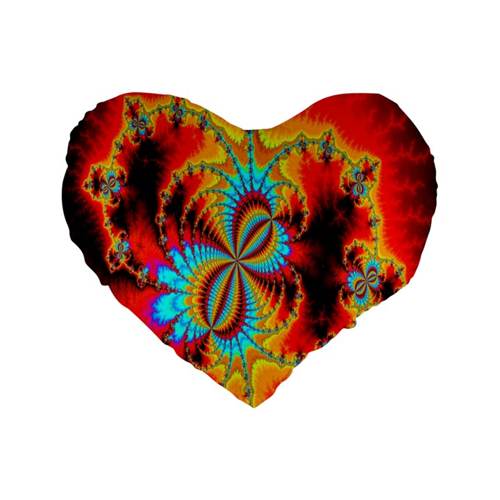 Crazy Mandelbrot Fractal Red Yellow Turquoise Standard 16  Premium Heart Shape Cushions
