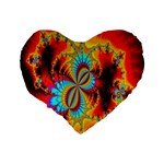 Crazy Mandelbrot Fractal Red Yellow Turquoise Standard 16  Premium Heart Shape Cushions Back