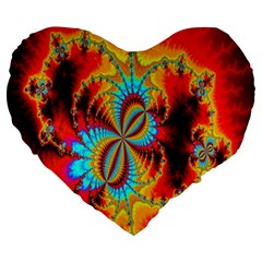 Crazy Mandelbrot Fractal Red Yellow Turquoise Large 19  Premium Heart Shape Cushions