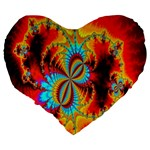 Crazy Mandelbrot Fractal Red Yellow Turquoise Large 19  Premium Heart Shape Cushions Back