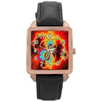 Crazy Mandelbrot Fractal Red Yellow Turquoise Rose Gold Leather Watch  Front
