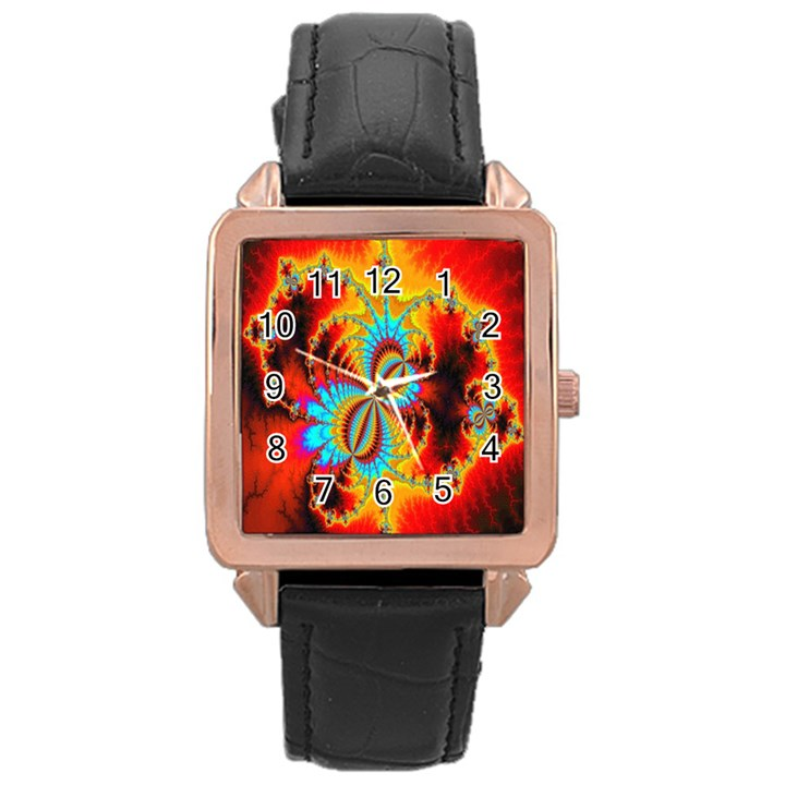 Crazy Mandelbrot Fractal Red Yellow Turquoise Rose Gold Leather Watch