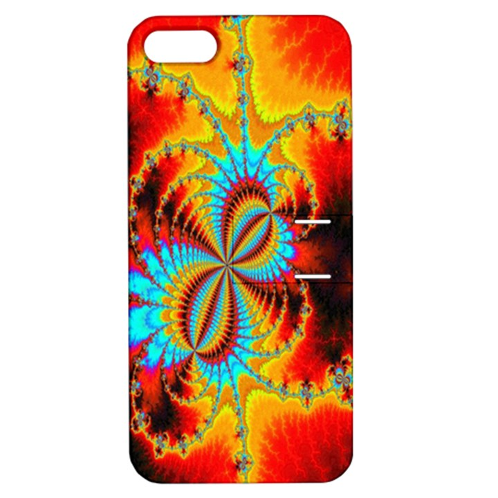 Crazy Mandelbrot Fractal Red Yellow Turquoise Apple iPhone 5 Hardshell Case with Stand
