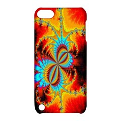 Crazy Mandelbrot Fractal Red Yellow Turquoise Apple Ipod Touch 5 Hardshell Case With Stand