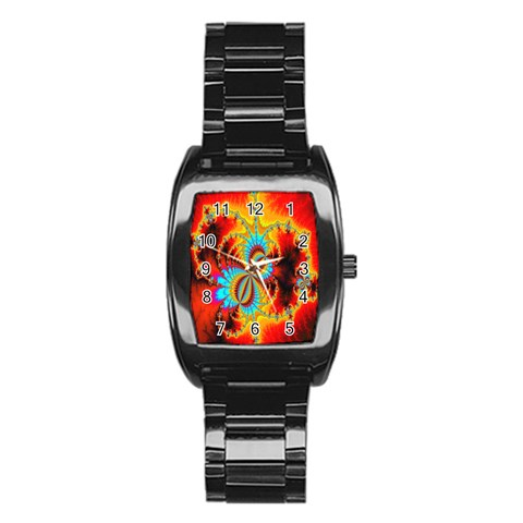 Crazy Mandelbrot Fractal Red Yellow Turquoise Stainless Steel Barrel Watch