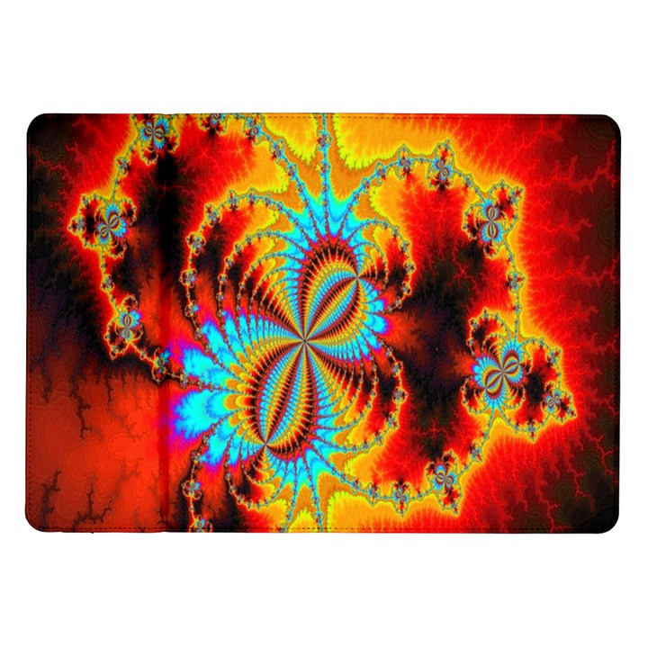 Crazy Mandelbrot Fractal Red Yellow Turquoise Samsung Galaxy Tab 10.1  P7500 Flip Case