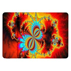 Crazy Mandelbrot Fractal Red Yellow Turquoise Samsung Galaxy Tab 8 9  P7300 Flip Case