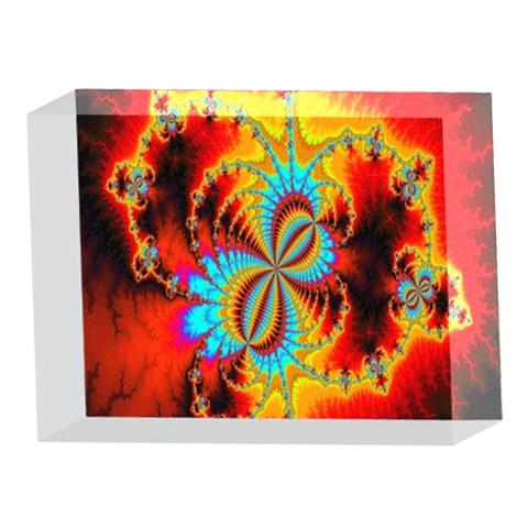 Crazy Mandelbrot Fractal Red Yellow Turquoise 5 x 7  Acrylic Photo Blocks