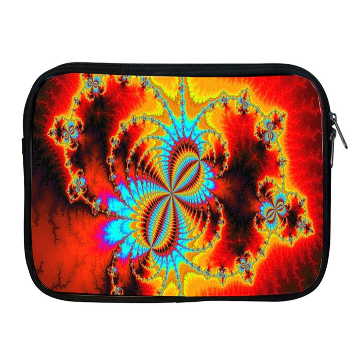 Crazy Mandelbrot Fractal Red Yellow Turquoise Apple iPad 2/3/4 Zipper Cases