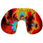 Crazy Mandelbrot Fractal Red Yellow Turquoise Travel Neck Pillows Front