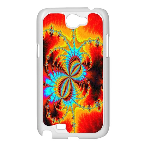 Crazy Mandelbrot Fractal Red Yellow Turquoise Samsung Galaxy Note 2 Case (White)