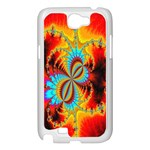 Crazy Mandelbrot Fractal Red Yellow Turquoise Samsung Galaxy Note 2 Case (White) Front