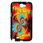 Crazy Mandelbrot Fractal Red Yellow Turquoise Samsung Galaxy Note 2 Case (Black) Front