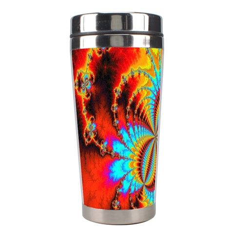 Crazy Mandelbrot Fractal Red Yellow Turquoise Stainless Steel Travel Tumblers