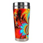Crazy Mandelbrot Fractal Red Yellow Turquoise Stainless Steel Travel Tumblers Left