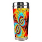 Crazy Mandelbrot Fractal Red Yellow Turquoise Stainless Steel Travel Tumblers Center