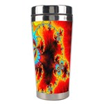 Crazy Mandelbrot Fractal Red Yellow Turquoise Stainless Steel Travel Tumblers Right