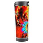 Crazy Mandelbrot Fractal Red Yellow Turquoise Travel Tumbler Left
