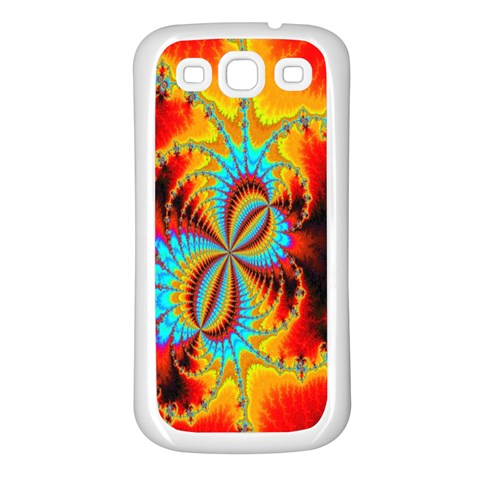 Crazy Mandelbrot Fractal Red Yellow Turquoise Samsung Galaxy S3 Back Case (White)