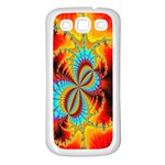 Crazy Mandelbrot Fractal Red Yellow Turquoise Samsung Galaxy S3 Back Case (White) Front