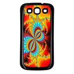 Crazy Mandelbrot Fractal Red Yellow Turquoise Samsung Galaxy S3 Back Case (Black) Front