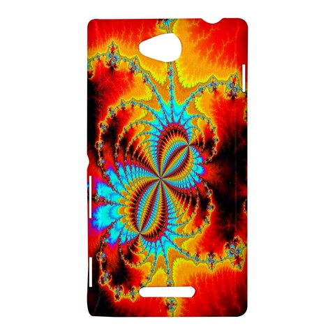 Crazy Mandelbrot Fractal Red Yellow Turquoise Sony Xperia C (S39H)