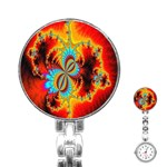 Crazy Mandelbrot Fractal Red Yellow Turquoise Stainless Steel Nurses Watch Front