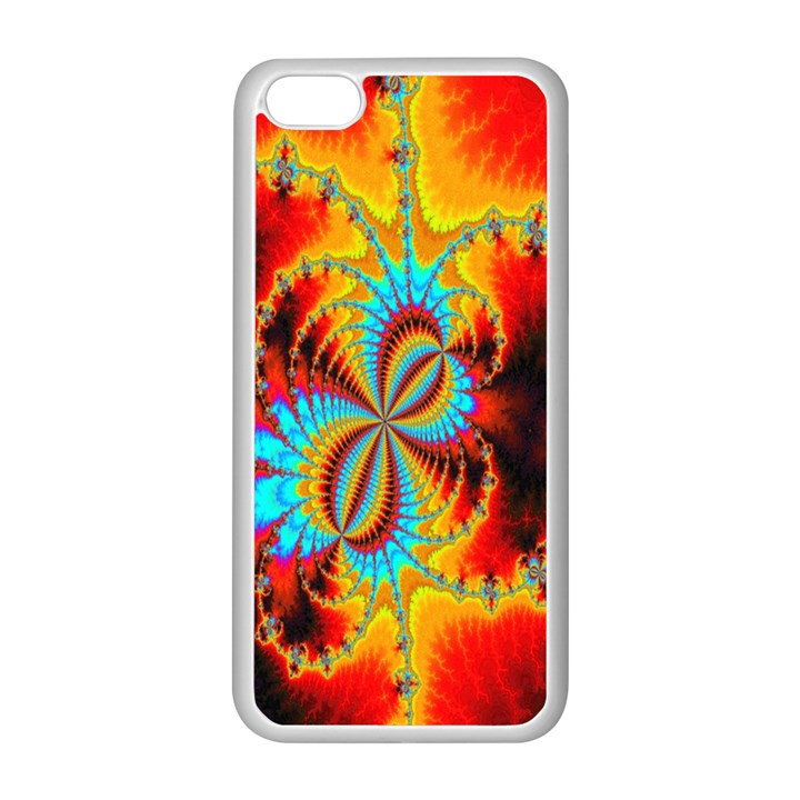 Crazy Mandelbrot Fractal Red Yellow Turquoise Apple iPhone 5C Seamless Case (White)