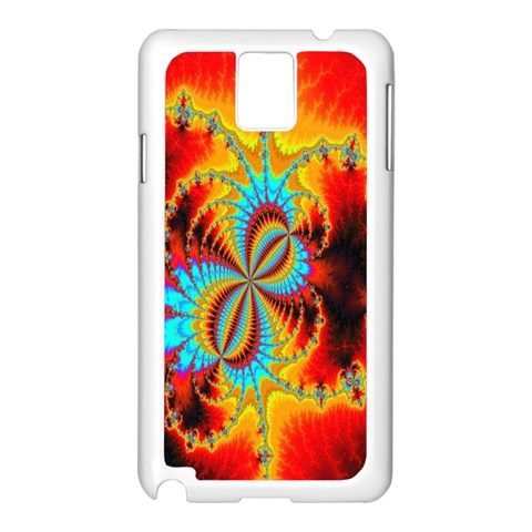 Crazy Mandelbrot Fractal Red Yellow Turquoise Samsung Galaxy Note 3 N9005 Case (White)