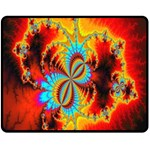 Crazy Mandelbrot Fractal Red Yellow Turquoise Double Sided Fleece Blanket (Medium)  60 x50 Blanket Back