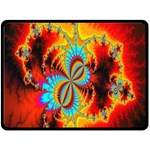 Crazy Mandelbrot Fractal Red Yellow Turquoise Double Sided Fleece Blanket (Large)  80 x60 Blanket Back