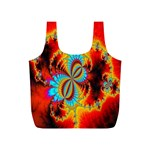 Crazy Mandelbrot Fractal Red Yellow Turquoise Full Print Recycle Bags (S)  Back